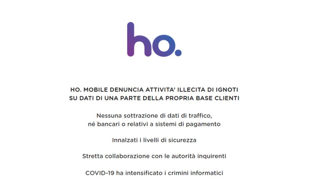 Ho. Mobile dati rubati: Aggiornamento 04/01/2021